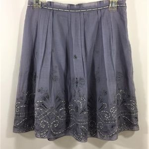 Elie Tahari Gray Embroidered Lined A-Lined Skirt